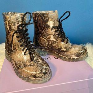 NWT Madden Girl Snakeprint Rain Boots Combat 7